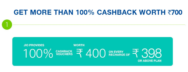 Jio Cashback Offer