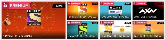 SonyLIV Channels